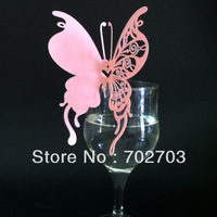 480pcs/lot laser cut beautiful pink butterfly place Cards for Wedding Party