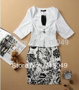 6XL большой размер 2014 весна Большой размер одежды тонкий платье + костюм легкое платье пр женская о-образным шеи печать цельный платье + топ бесплатная доставка