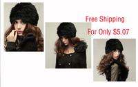 Free Shipping Genuine Knit Rabbit Fur Hat Nature Rabbit fur Cap Headgear Headdress Various Fashion Women TF102