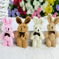 Free Shipping Mini 8cm Standing Height Gift Fat Plush Jointed Teddy Rabbit Wholesale 4 Colors 24pcs/LOT