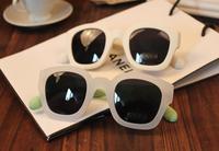 free shipping 2014 fashion Korean literary retro jelly color  Square round sunglasses
