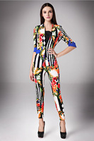 Flora pattern blazers/2014 new fashion clothing set/Women suits with pants