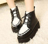 2014 Harajuku vivi magazine classic creepers platform shoes autumn and winter female ankle boots lacing black size 35-39