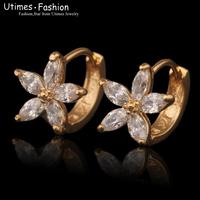 2015 New Fashion Women Stone Flower Earrings Hoop 18k Gold Plated