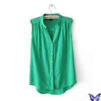 2014 Summer New Fashion Women Tops Cotton Candy Colors Folds V-Neck Sleeveless Blouses Shirts Blusas Femininas