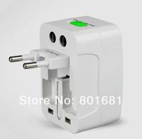 Free Shipping+wholesales Universal World AC Power Socket Plug Adapter US EU UK extension International travel outlet