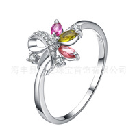Genuine 925 Sterling Silver Ring Guaranteed Natural Tourmaline Finger Jewelry Of Women Girl's Gift Korean Fashion Accessories