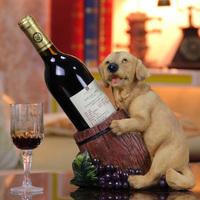 Cute Resin Doggie Wine Holder Decor Sculpture Craft Furnishing Embellishment. Creative Puppy Wine Bottle Rack Barware Wine Set