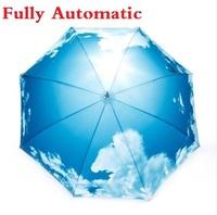 Hot Selling Best Quality Blue Sky White Cloud Umbrella Anti-UV Auto Parasols Three Folding Umbrellas U-06