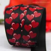 "wholesale+free shipping gift and chocolate box packing ribbon 5/8"" polyester grosgrain ribbon, cartoon heart printed 20yds/roll"
