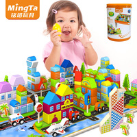 Child large scene blocks toys 200pcs big wooden bricks block sets baby enlighten educational building blocks free shipping