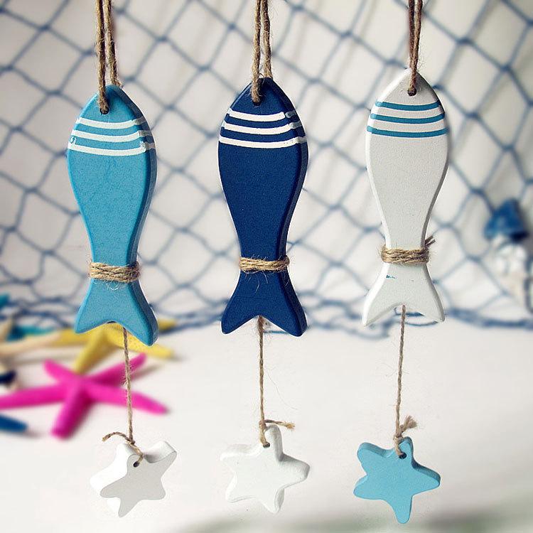 2014 Bathroom Stickers Mediterranean Style Fish Hung 3pcs Set,nautical Decor Hang Adorn,wholesale Wooden Crafts free Shipping