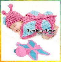 Sunshine store #3C2635  5 pcs/lot (blue pink)Handmade Crochet Baby flower butterfly hat cover Newborn Children Costume Set CPAM