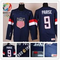 2014 Sochi Olympic Team USA #9 Zach Parise Blue Ice Hockey Jerseys Emboridered Logo New with tag