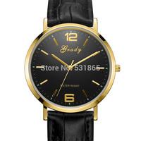 Grady Hot sale free shipping men quartz genuine leather band 3 ATM water resistant casual men wrist watch