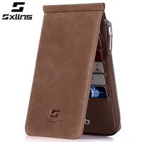 brand mens wallet purse men sxllns long design scrub vintage wallets man wallet credit card holder carteira masculina couro