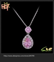 Wholesale Delicate Jewellery Topaz/blue/pink/Emareld sapphire Dowager white Gold Plated Necklace  gift