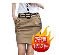 2014New Arrival Spring and Summer Women  A Line  Skirts   Female Basic  Slim Hip Knee-Length OL Skirts   With Belt