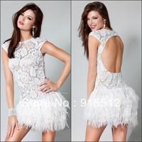 Fabulous White Sheath Jewel Neck Cap Sleeve Lace Short Ostrich Feather Cocktail Dress