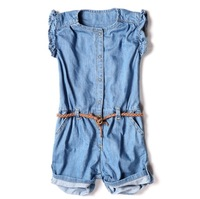 t180 retail new 2014 brand fashion denim overalls for girl jumpsuit casual girls jeans overall free shipping