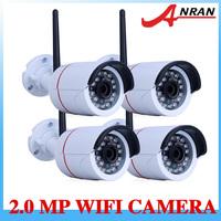 4Pcs Ip camera wireless Weaterproof P2P Plug Play High Definition 2MP 1080P IR Night Vision Camera With bracket Free Phone view