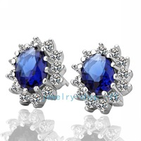 Top Grade Brand Fashion Designer 18K White Gold Plated Navy blue SWA Element Crystal Stud Earrings for Women Free Shipping_E027