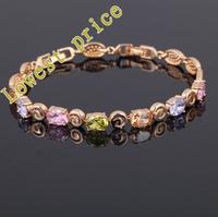 Loveers 18K k Gold Plated Bracelets Style AAA Zircon & Color Crystal Health Nickel & Lead free Fashion jewelry TB222