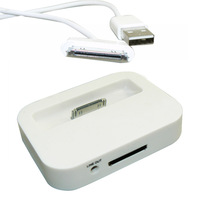 Dock Charger Data Sync 3.5 audio cable adapter docking For Apple iPhone 4 4S iPod Nano Touch White/Black + free 30 pin usb cable