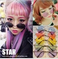 new fashion women sunglasses Harajuku color lenses round glasses men's eyewear accessories free shipping YJ5014