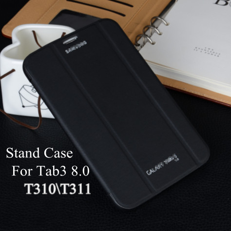 Top quality Ultra Slim Stand Flip Case For Samsung galaxy tab 3 8.0 sleep cases T310 T311 T315 Tablet Back Cover Free shipping(China (Mainland))