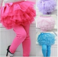 2014 free shipping Retail 1 pcs Top Quality! girl fashion lace Culotte Applique child soft cotton pants wear spring in stock