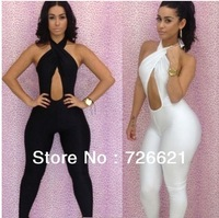 New 2015 Black White Jumpsuit Women Across Backless Overalls Club Sexy Bodysuit Bodycon Jumpsuits Bandage Bodycon For Party