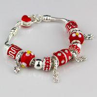 NEW fashion Bracelet Bangle for Women 2014 Red bead bracelet chaim 925 silver plated Bracelets.  FREE SHIPPING
