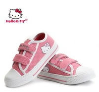 Free shipping! 100% original brand  Hello Kitty lovely dot velcro Sneaker kids girls Canvas flat Shoes