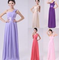 Free shipping Hot sale One shoulder Floor length Fold Chiffon top purple elegant Evening Bride Dresses