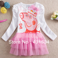 Hot Peppa Pig Girls' Dress Pink Lace Dress Tutu Dress Baby Girl Party Dress Long Sleeve for Spring&Autumn Girls Clothing