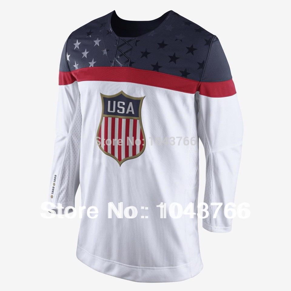 Newest 2014 Sochi Olympic Team USA Hockey Jersey White Ice Hockey Stitched American Team USA Olympic Hockey Jersey(China (Mainland))