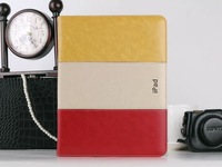 Free Shipping yellow white red case for ipad air case  cover stand designer leather cover  for iPad air for apple iPad 4\3\2