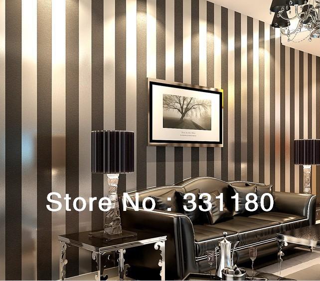 Zwart wit gestreepte behang promotie winkel voor promoties zwart wit gestreepte behang op for Deco volwassen kamer design