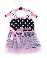2014 Fashion New Cute Girl's Pink Ruffle Sundress Baby Dress Baby Clothes Tutu Dress 3 sizes 20092