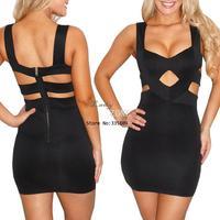 2014 New Fashion Women Sexy Celeb Bodycon Bandage Dress Hollow Out Clubwear Dress With G-String Black S M 20100