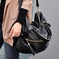Fashion all-match 2013 shoulder cross-body bag female bags large vintage brief black motorcycle women bag