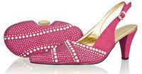 Free shipping 2014 fushia pink high heel fashion women pumps Italian shoes with matching bags with rhinestone,wholesale SB8788