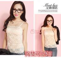 free shipping The temptation to lace flower vest bra sleeveless spaghetti strap fresh cutout female 849 basic shirt