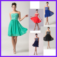 Fast Delivery! Grace Karin Sexy Short Chiffon Beaded and Sequins Prom Dress Navy Blue, Black, Red, Green, Blue 6049