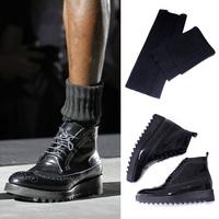 size36-45 2014 fashion men's black lace-up platform brockden carved high upper first layer of cowhide ankle martin boots