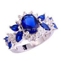 Wholesale Charming Emerald Cut Sapphire Quartz & White Topaz  Silver Ring Size 7 Jewelry Fashion Ring For Women