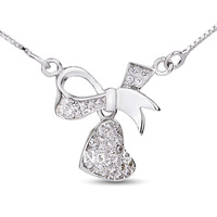 GNX0281 New Promotion Fashion 925 sterling silver CZ Jewelry ribbon heart Pendant 14*13.8mm with Box chain Necklace Freeshipping