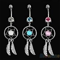 Body Jewelry Crystal Gem Dream Catcher Navel Dangle Belly Barbell Button Bar Ring Body piercing Art 06PB