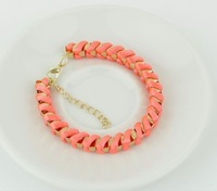 HOT !THE NEW Charm Pink Colour Handmade Woven Fluorescence Chain Girls Cuff Alloy Plated Bracelet
